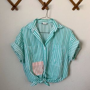 Vintage Beachy Striped Button Up